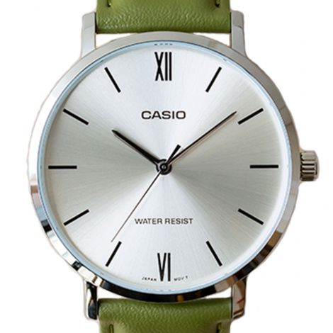 Casio MTP-VT01L-3B MTPVT01L-3B Green Leather Watch
