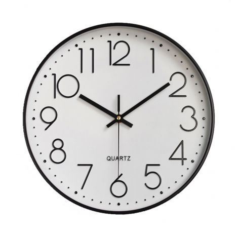 OEM Wall Clock Quiet Sweep Black Case White Dial
