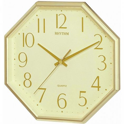 Rhythm CMG840BR18 Gold Octagon Wall Clock