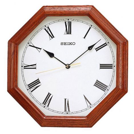 Seiko QXA152B QXA152BN Octagon Wood Wall Clock