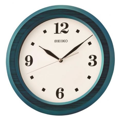 Seiko QXA772L QXA772LN Blue Wooden Wall Clock