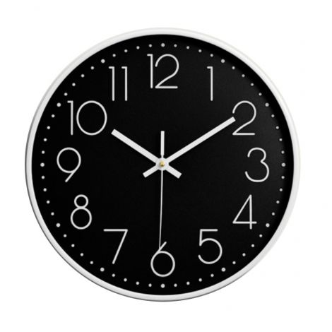 OEM Wall Clock Quiet Sweep White Case Black Dial