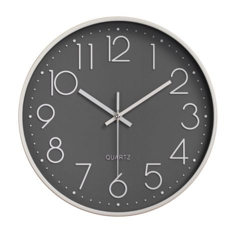 OEM Wall Clock Quiet Sweep Silver Case Black Dial